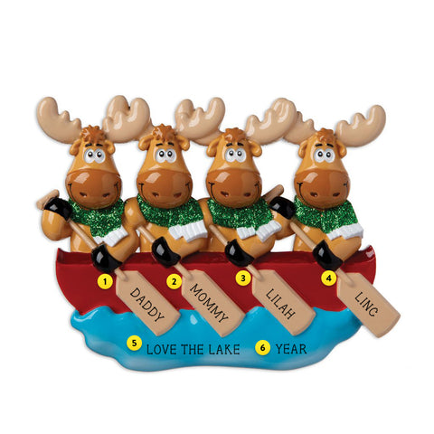 Moose Family of 4 in Canoe resin personalized ornament