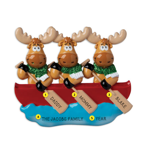 Moose Family of 3 in Canoe Personalized Resin Christmas Ornament
