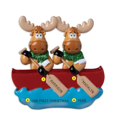 Moose Couple in Canoe Resin Christmas Ornament Personalized