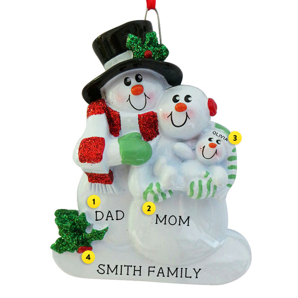 New Parents Snowfamily Ornament