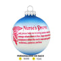 Nurse's Prayer Glass Bulb Ornament for Christmas Tree