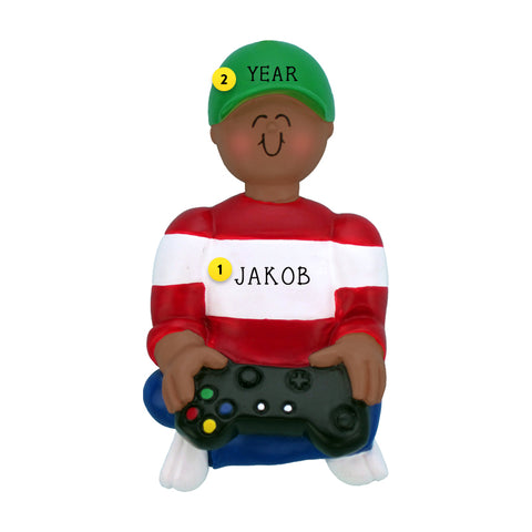 Video Game Player Ornament - African American-Boy