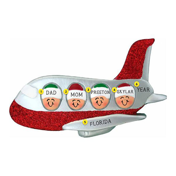 Family of 4 Airplane Ornament
