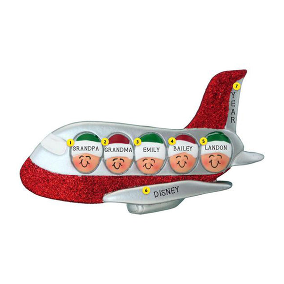 Family of 5 Airplane Ornament