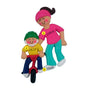 Child Learning to Ride a Bike Ornament - Female Adult, Brunette