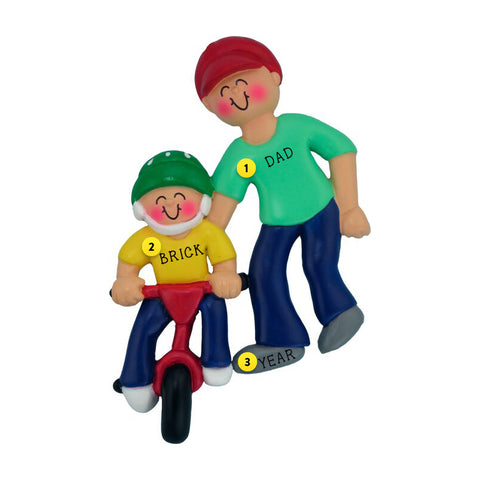 Child Learning to Ride a Bike Ornament - Male Adult
