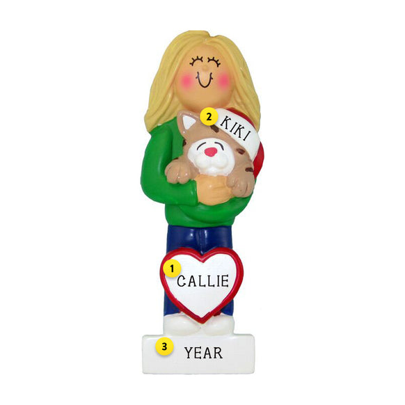 Cat Lover Ornament - Female, Blond Hair