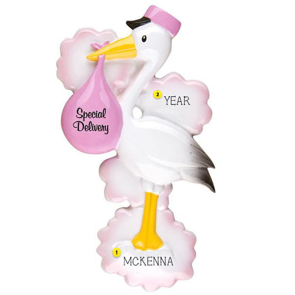 Stork Special Delivery Baby Ornament -Pink