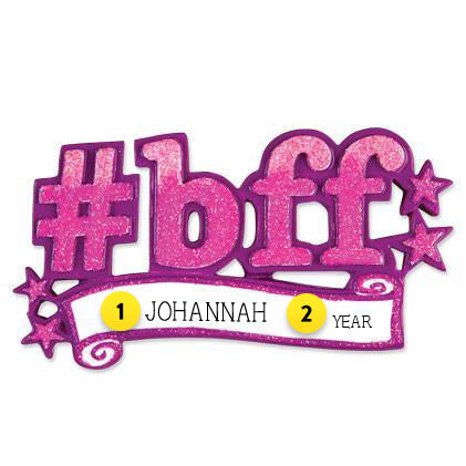 Hashtag BFF Personalized Ornament