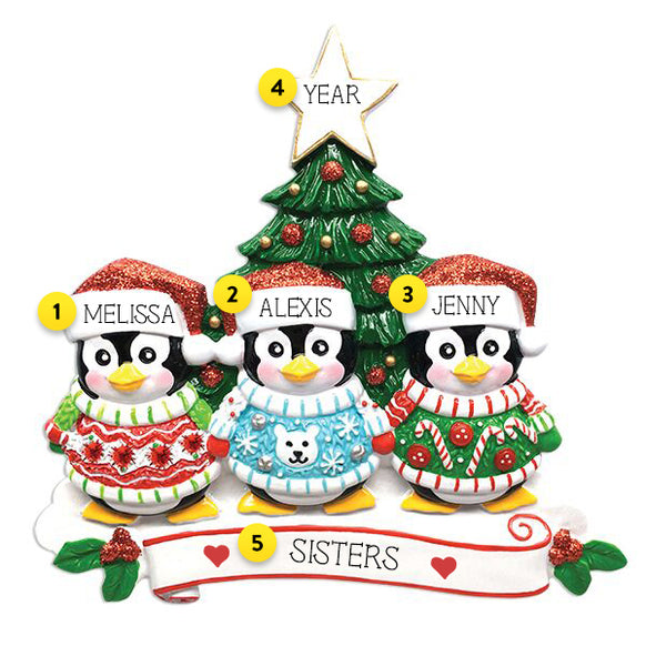 Penguin Family of 3  Ugly Sweater Ornament