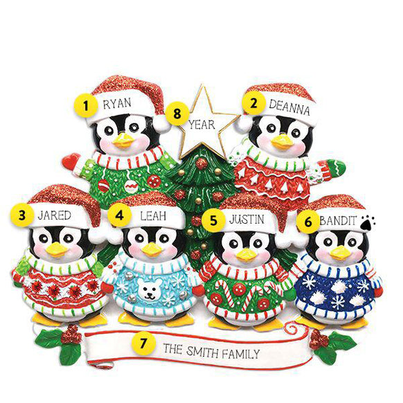 Ugly Sweater Penguin Family of 6 Ornament