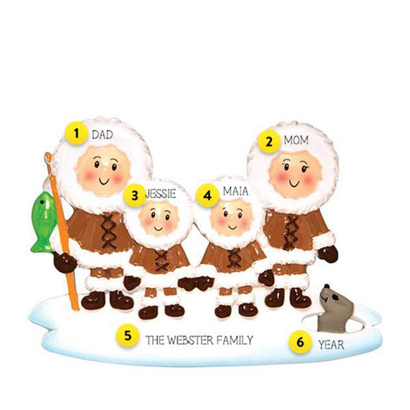 Eskimo Family of 4 Ornament