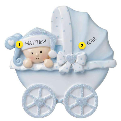 Baby Boy In Carriage Ornament For Your Tree