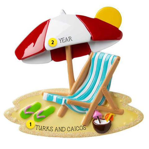 BEACH CHAIR AND UMBRELLA ORNAMENT FOR YOUR TREE