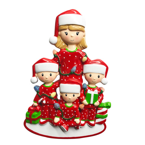 Single Mom with 3 Children Ornament