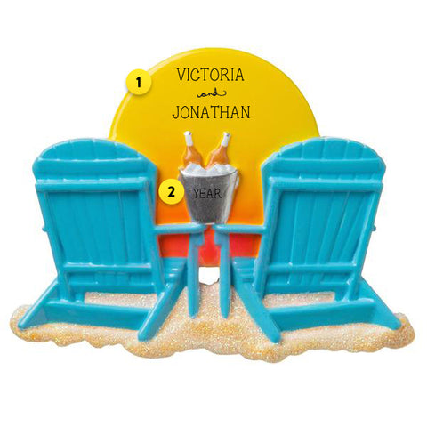 Two Adirondack Chairs Ornament with Sun and Champagne Bucket