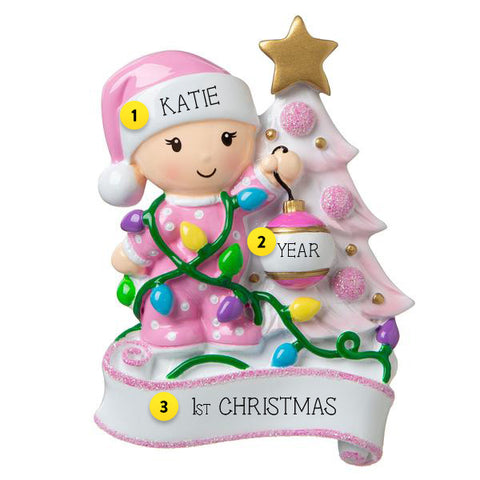Baby Girl's 1st Christmas Decorating the Tree Ornament