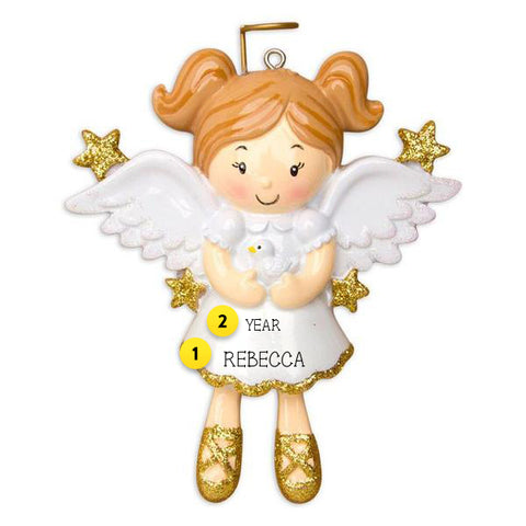 Angel girl with dove personalized ornament