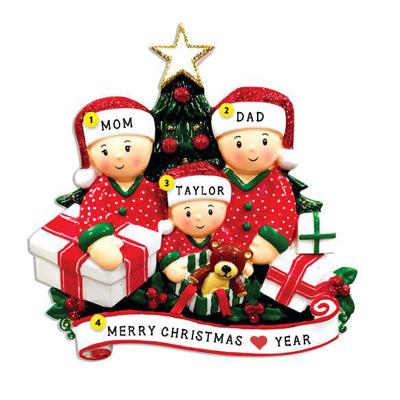 Opening Gifts From Santa Family of 3 Ornament for Christmas Tree