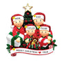 Opening Gifts From Santa Family of 4 Ornament for Christmas Tree