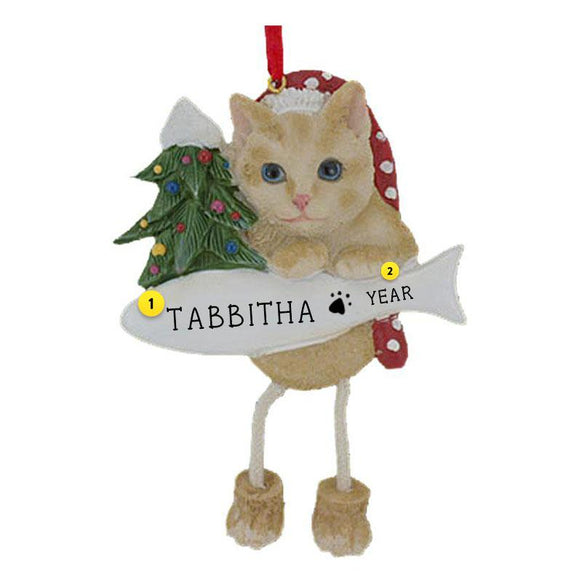 Tabby Cat Ornament Orange Personalized for Christmas Tree