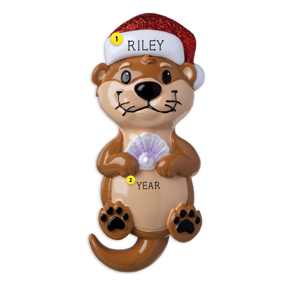 Otter wearing a Santa Hat resin personalized ornament  Edit alt text