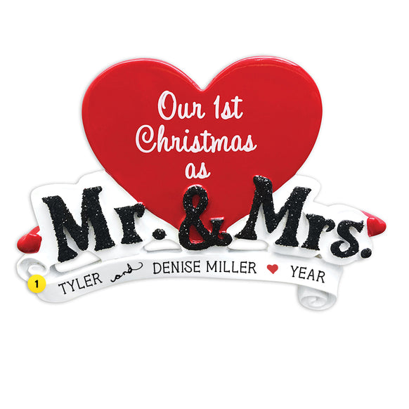 """Our 1st Christmas as Mr. & Mrs."" Ornament"
