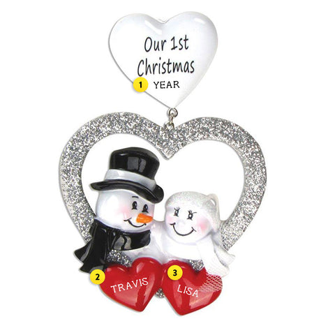 """Our 1st Christmas"" Wedding Snowcouple Ornament"