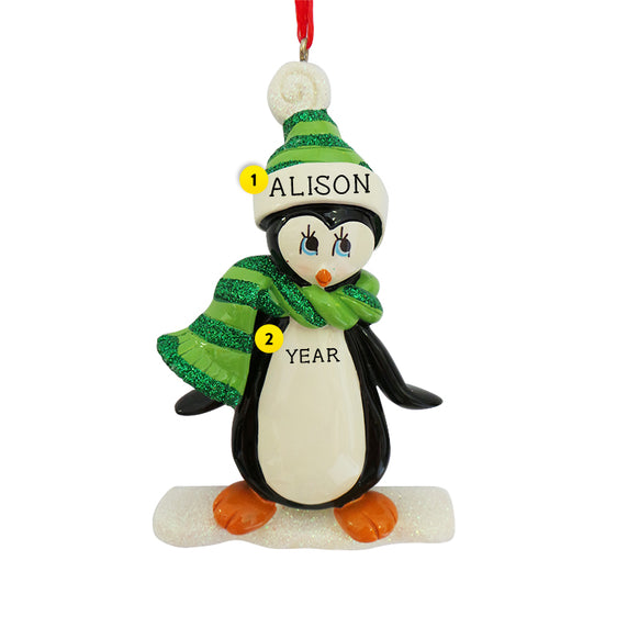 Penguin on Ice Ornament for Christmas Tree