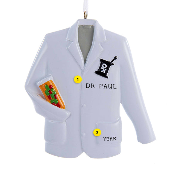 Pharmacist Coat Ornament for Christmas Tree