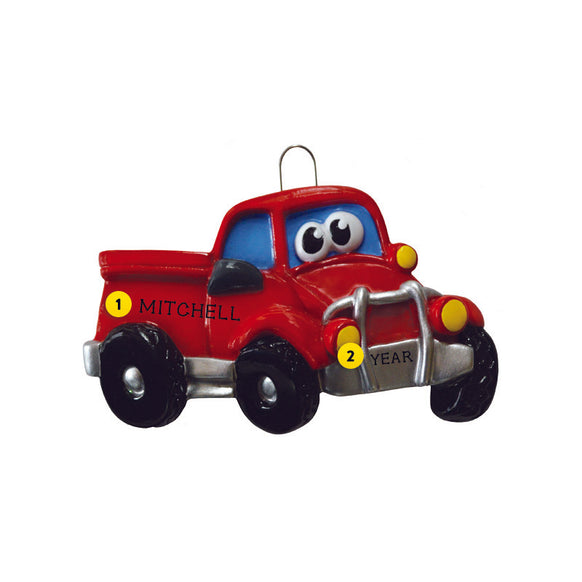 Pick-Up Truck with Face Ornament for Christmas Tree