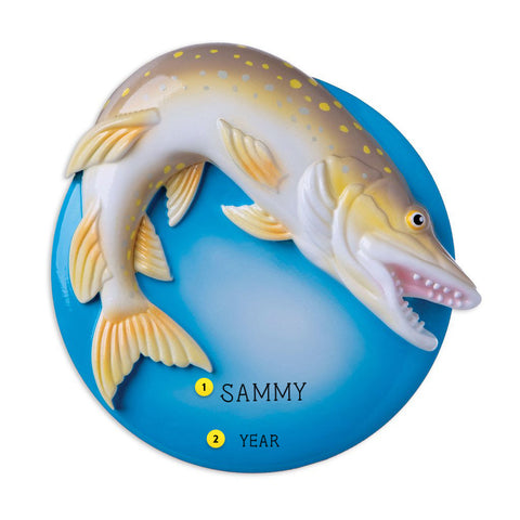 Northern Pike resin personalized ornament