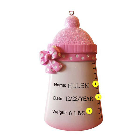 Baby Bottle Ornament-Pink