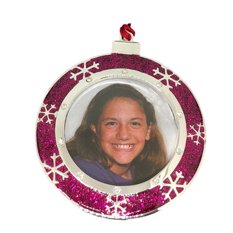 Snowflake Picture Frame Christmas Ornament - Pink