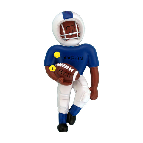 Playing Football Ornament - Black Male, Blue Uniform for Christmas Tree