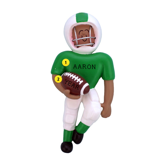 Playing Football Ornament - Black Male, Green Uniform for Christmas Tree