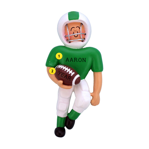Playing Football Ornament - White Male, Green Uniform for Christmas Tree