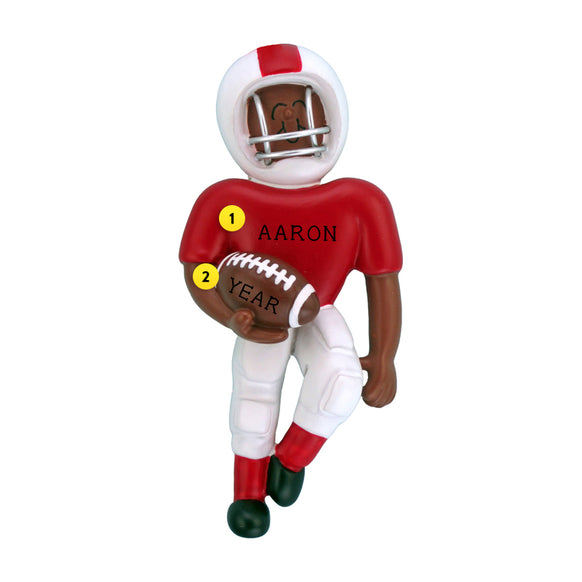 Playing Football Ornament - Black Male, Red Uniform for Christmas Tree