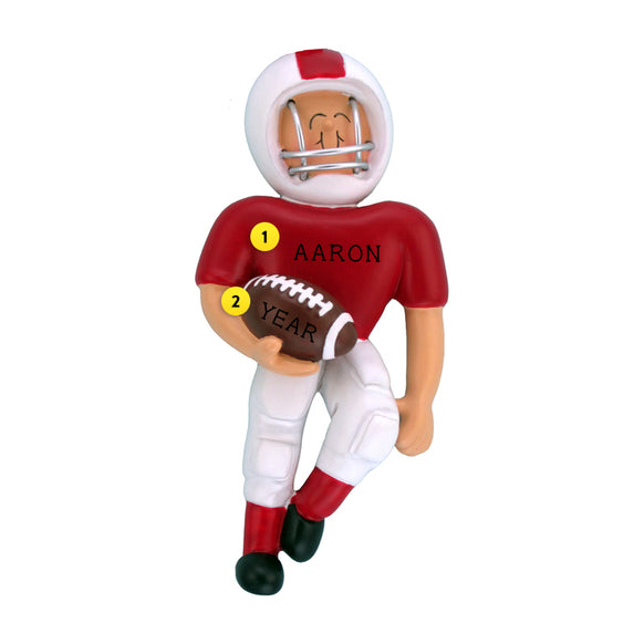 Playing Football Ornament - White Male, Red Uniform for Christmas Tree