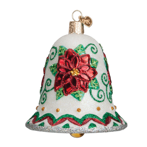 Poinsettia Bell Ornament for Christmas Tree