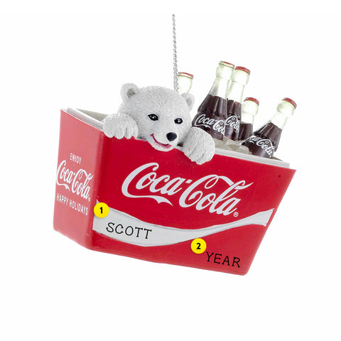 Polar Bear Cub in Coke Cooler Ornament for Christmas Tree