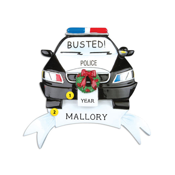 "Police Car ""Busted"" Ornament for Christmas Tree"