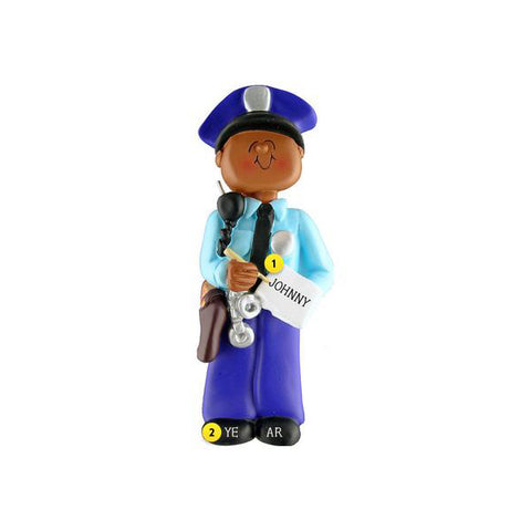 Police Ornament - African-American Male For Christmas Tree