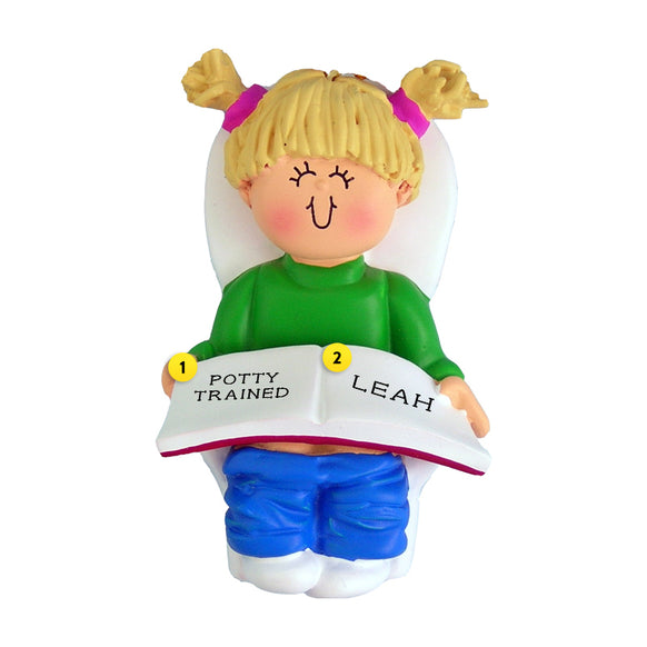 Potty Training Toddler Ornament - White Female, Blond Hair for Christmas Tree