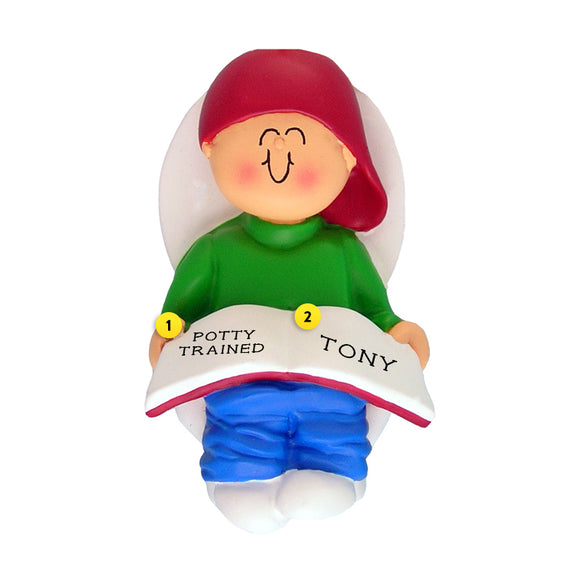 Potty Training Toddler Ornament - White Male for Christmas Tree