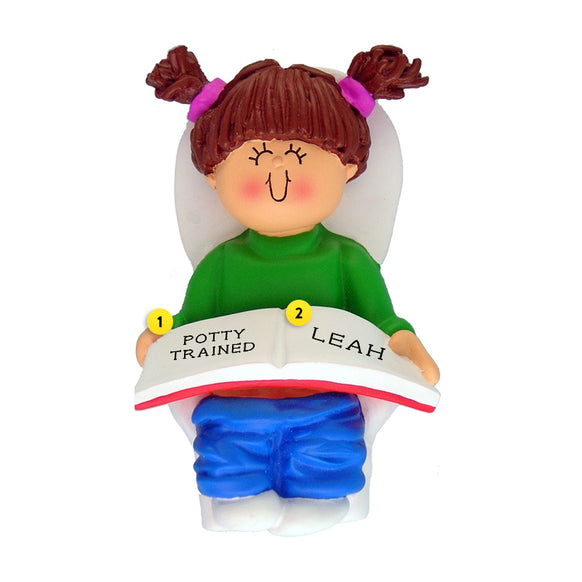 Potty Training Toddler Ornament - White Female, Brown Hair for Christmas Tree