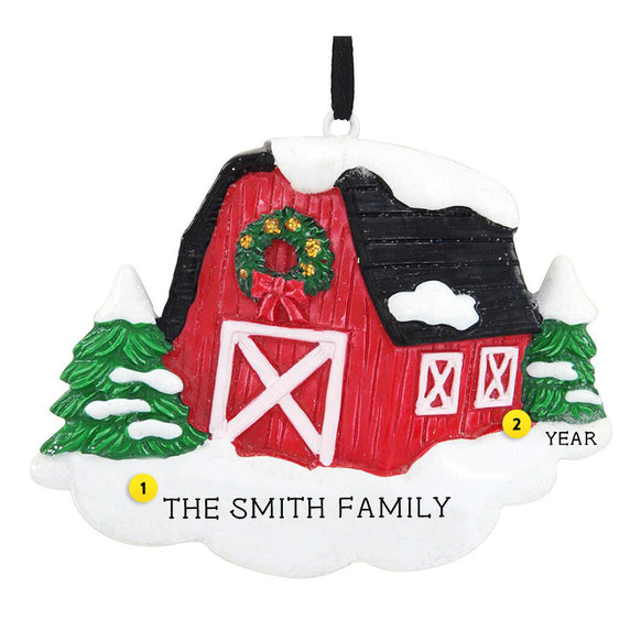 Red Barn Ornament for Christmas Tree