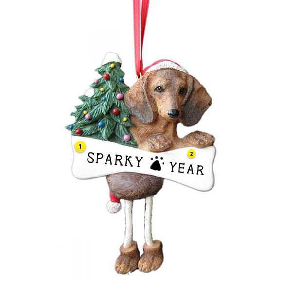 Red Dachshund Dog Ornament for Christmas Tree
