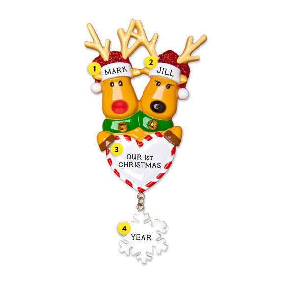 Reindeer Couple Holding Heart Ornament for Christmas Tree