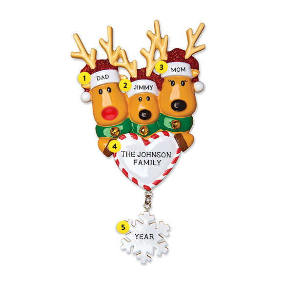 Reindeer Family of 3 with Heart and Snowflake Ornament for Christmas Tree